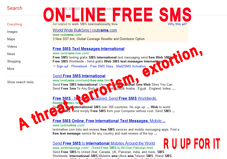 Free SMS online can be a threat in terms of security
